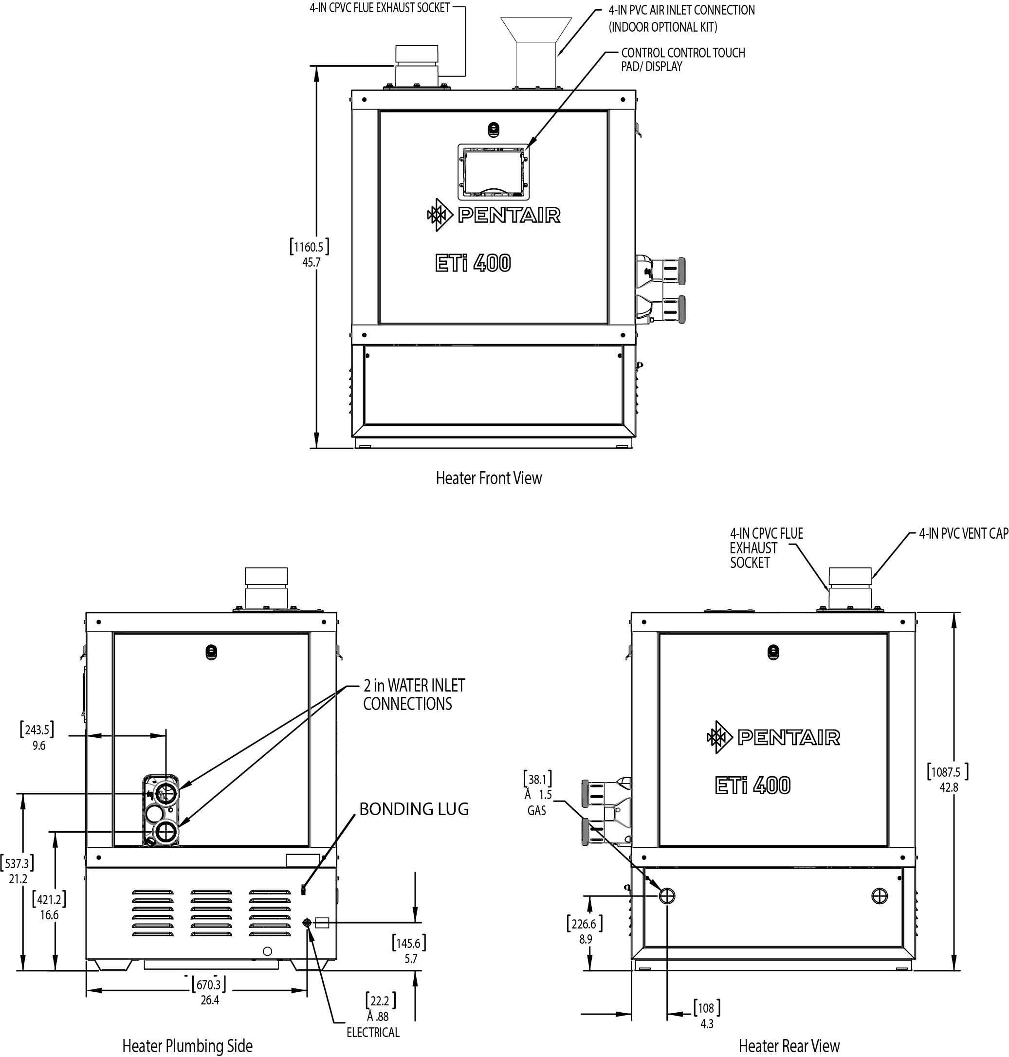 Pentair Eti 400 High Efficiency Pool Heater Asme